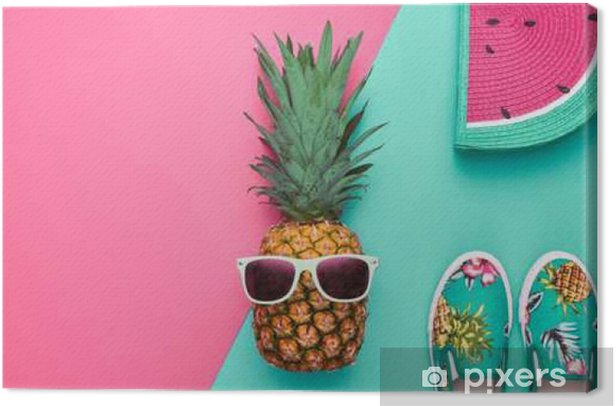 3b0816821d8f Fashion Hipster Pineapple Fruit. Bright Summer Color, Accessories. Tropical  pineapple with Sunglasses, Stylish Handbag Creative Art concept. Minimal  style.
