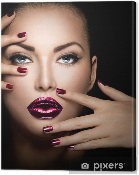 Fashion model girl face, beauty woman makeup and manicure Canvas Print - Themes