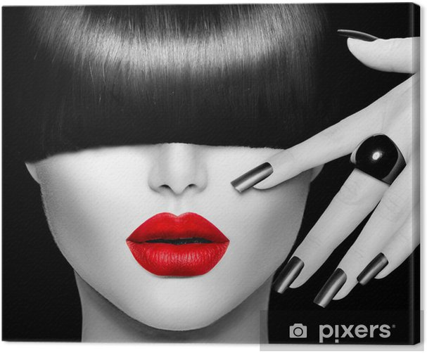 Fashion Model Girl with Trendy Hairstyle, Makeup and Manicure Canvas Print - Fashion