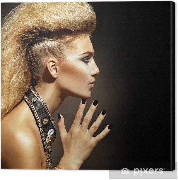 Fashion Rocker Style Model Girl Portrait. Hairstyle Canvas Print - Fashion