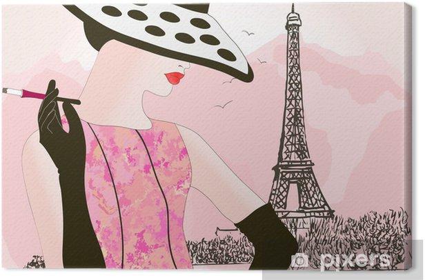 fashion woman in Paris Canvas Print - Fashion