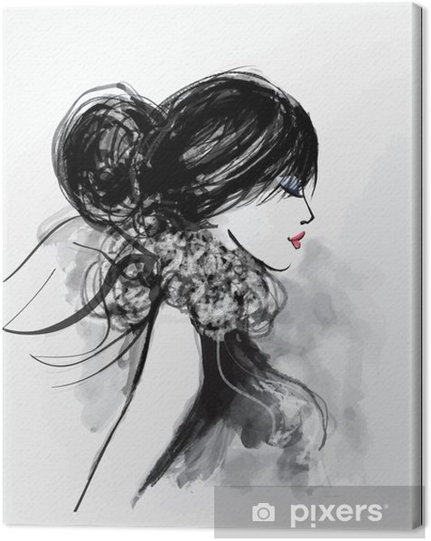Fashion woman model with a scarf Canvas Print - People