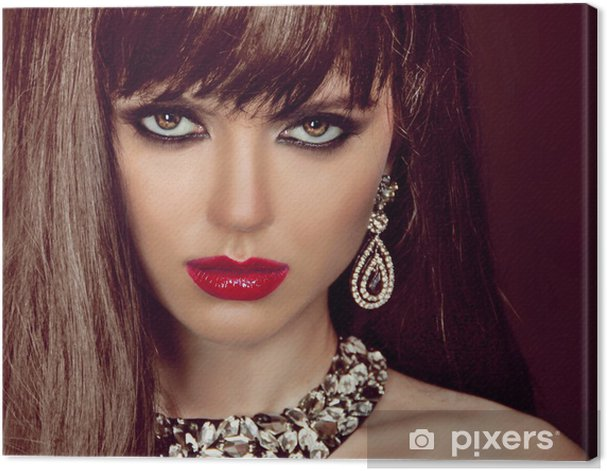 Fashion woman with brown hair and evening make-up. Jewelry and B Canvas Print - Women