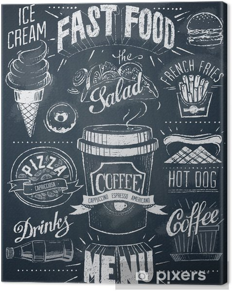 Fast food chalkboard design set Canvas Print - Meals