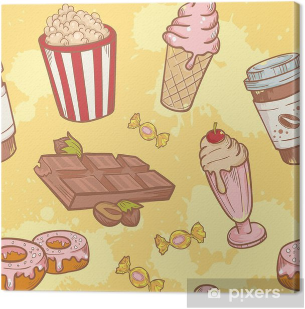 Fastfood sweets delicious hand drawn vector seamless pattern Canvas Print - Meals