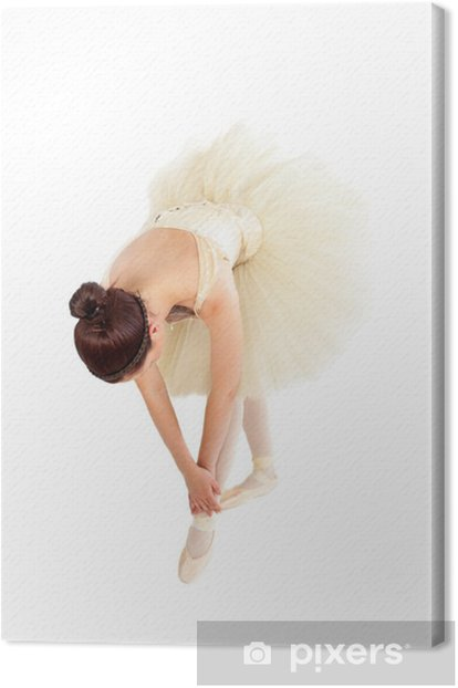 Female ballet dancer streching before her lesson Canvas Print - Themes