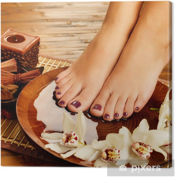 female feet at spa salon on pedicure procedure Canvas Print - Lifestyle>Body Care and Beauty