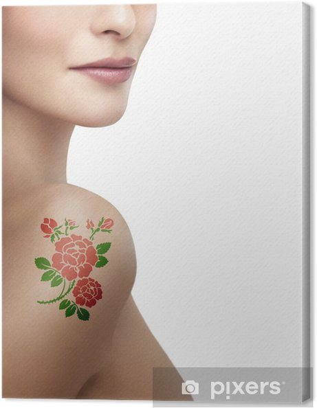 Femme Tatouage Rose Canvas Print Pixers We Live To Change