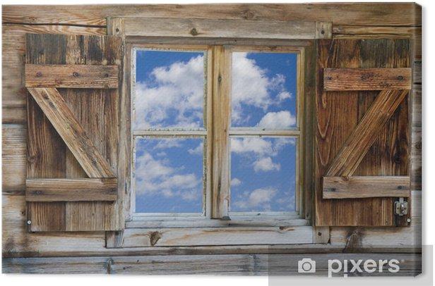 Fenster einer Berghütte mit Himmel in Südtirol Canvas Print - Themes