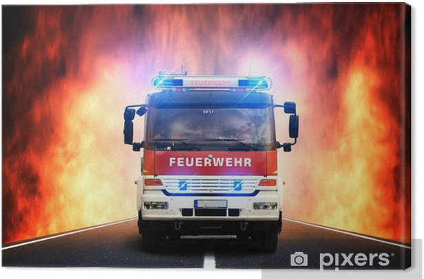 Feuerwehr-Anfahrt Canvas Print - Professions