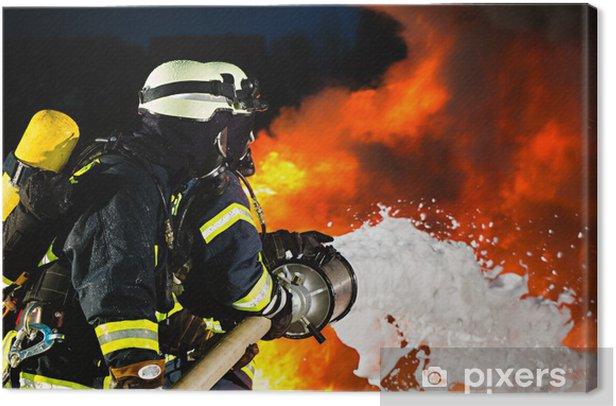 Feuerwehr - Feuerwehrmänner löschen Brand Canvas Print - Professions