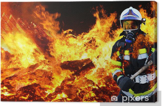 Feuerwehrmann Firefighter Held Canvas Print - Professions