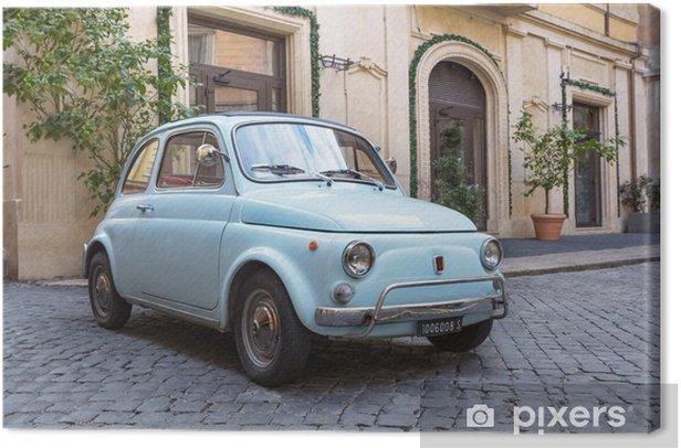 Fiat 500 dans les Rues de Rome Canvas Print - iStaging