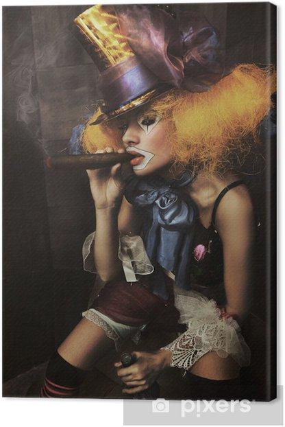 Fine art photo of a bad clown Canvas Print - Women