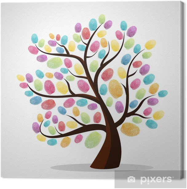 Finger prints diversity tree Canvas Print - Trees