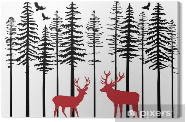 Fir tree forest with reindeer, vector Canvas Print - Forest