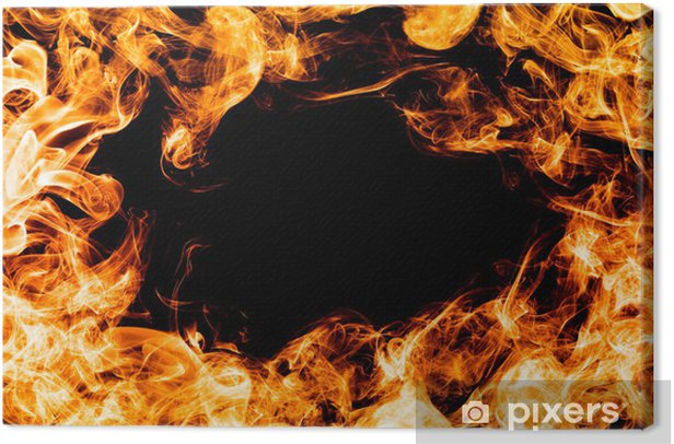 Fire flames on black background, frame, border. Canvas Print - Natural Disasters