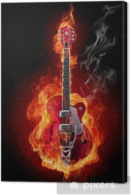 Fire guitar Canvas Print - Styles