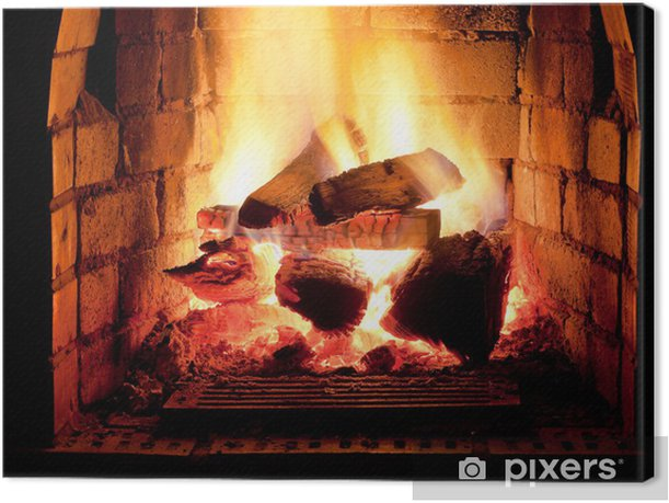 fire in fireplace Canvas Print - Themes