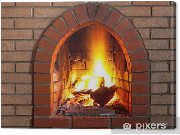 fire in fireplace Canvas Print - Home and Garden