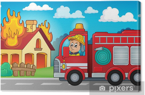 Fire truck theme image 5 Canvas Print - On the Road