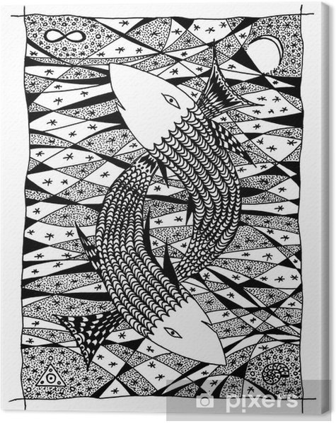Fish in the sea. Graphic drawing Canvas Print - Imaginary Animals