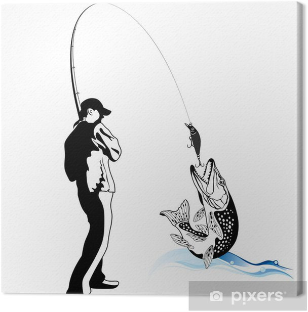 Fisherman caught a pike, vector illustration Canvas Print - Outdoor Sports