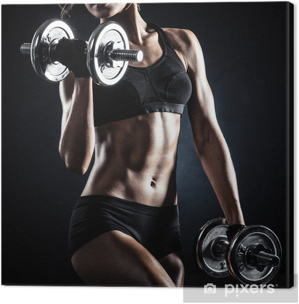 Fitness with dumbbells Canvas Print -