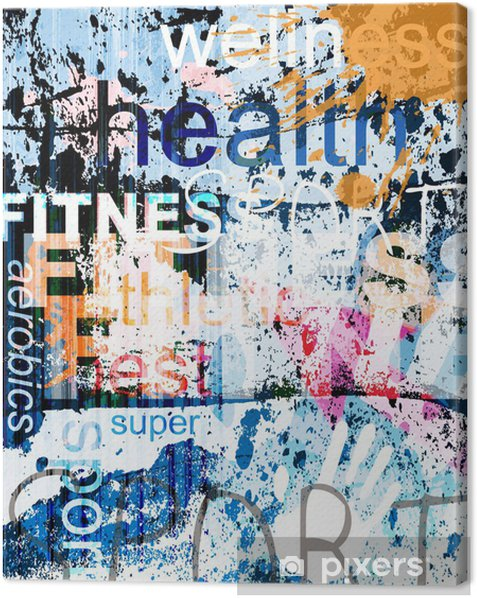FITNESS. Word Grunge collage on background. Canvas Print - Backgrounds
