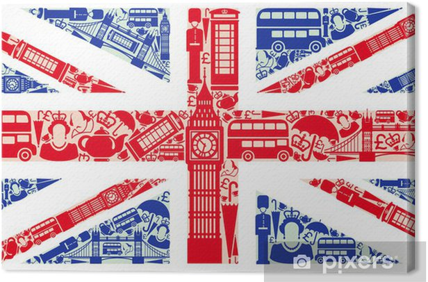 Flag of England from symbols of the United Kingdom and London Canvas Print -