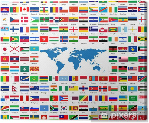 Flags from all over the world Canvas Print - Signs and Symbols