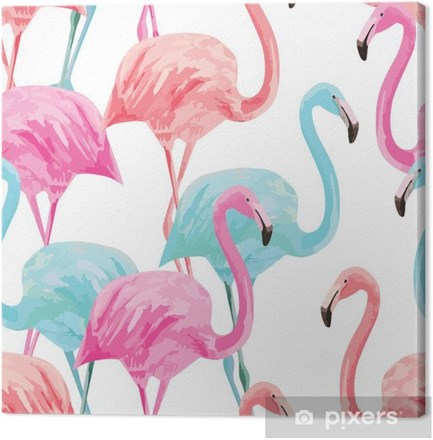 flamingo watercolor pattern Canvas Print - Animals