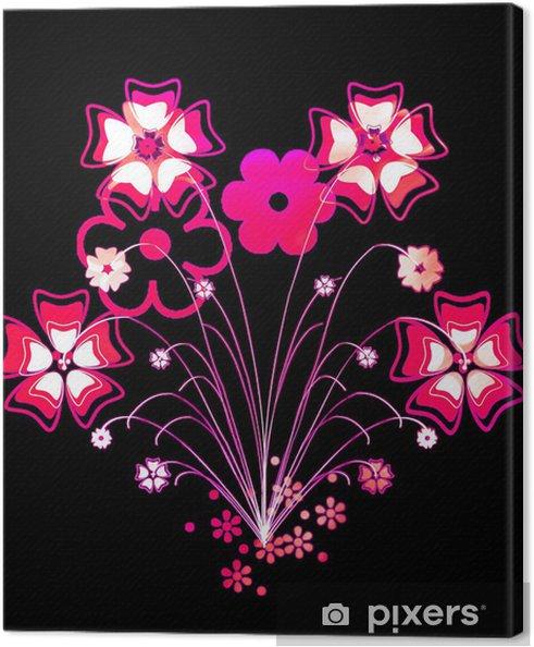 Fleurs Rose Sur Fond Noir Canvas Print Pixers We Live To Change