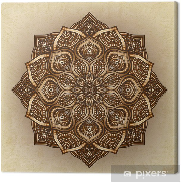 floral brown round ornament Canvas Print - Backgrounds