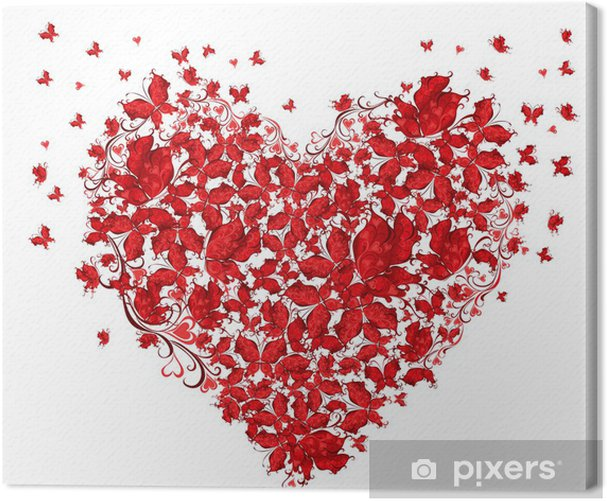 Floral Love Shape Heart Of Butterflies Canvas Print