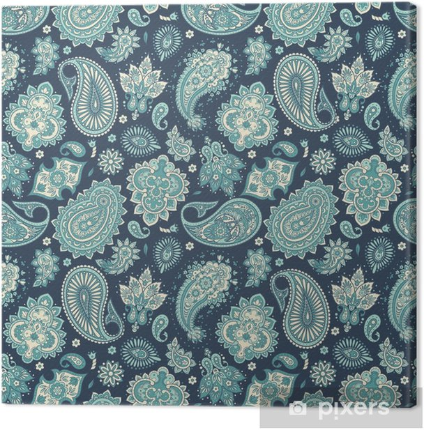 Floral seamless pattern with paisley ornament. Vector illustration in Asian textile style Canvas Print - Graphic Resources