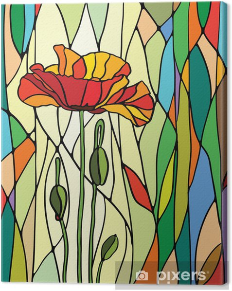 floral stained glass Canvas Print -