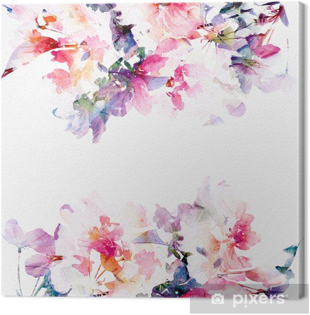 Floral watercolor background. Roses. Canvas Print - Styles