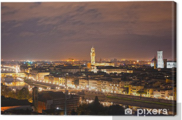 Florence, view of Duomo, Giotto's bell tower, Santa croce and Canvas Print - Themes