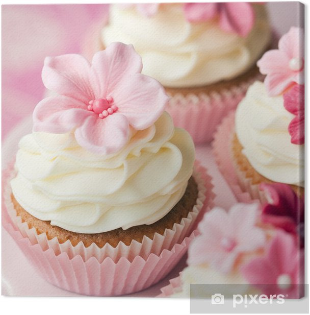 Flower cupcakes Canvas Print - Sweets and muffins