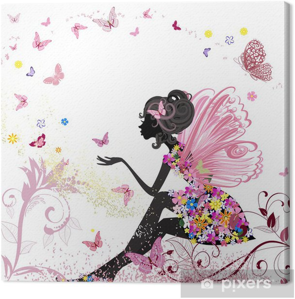 Flower Fairy in the environment of butterflies Canvas Print - Styles