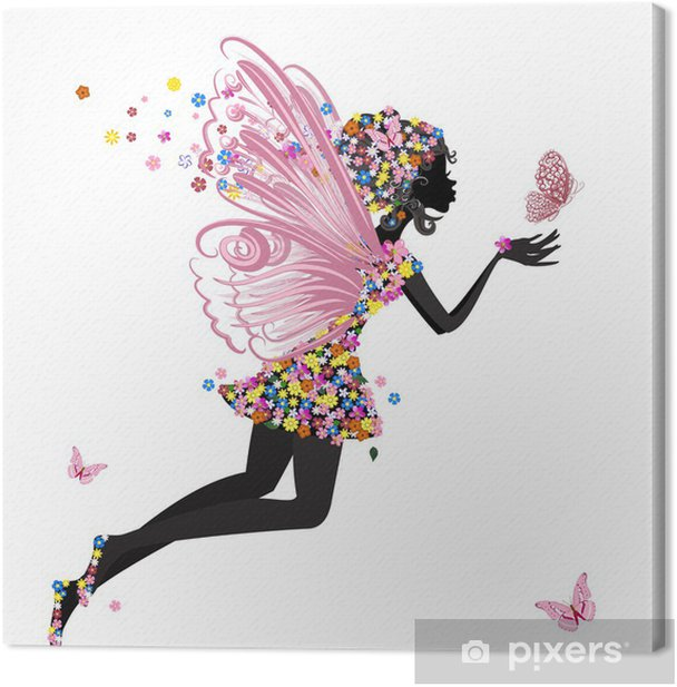 Flower Fairy with butterfly Canvas Print - Other Feelings