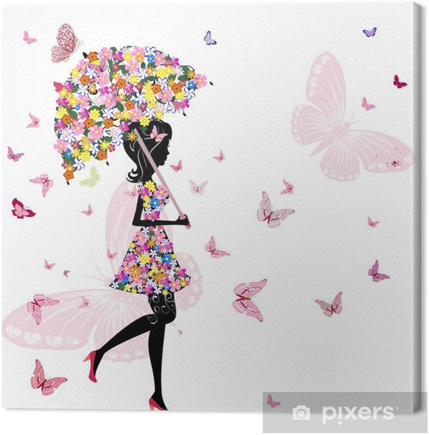 flower girl with umbrella Canvas Print - Styles