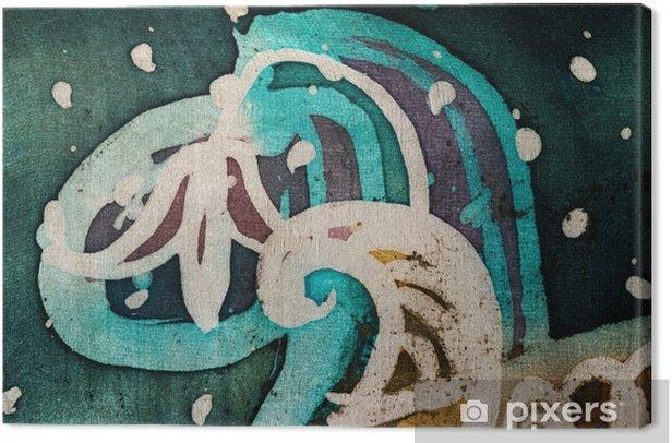 Flower, hot batik, background texture, handmade on silk, abstract surrealism art Canvas Print - Graphic Resources