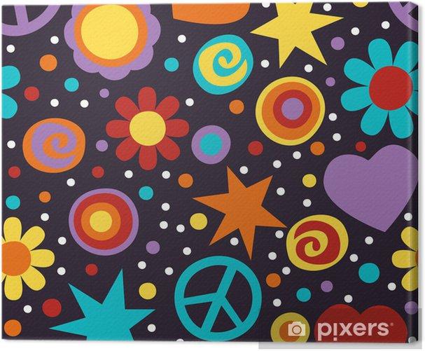 Flower power hippie seamless pattern Canvas Print - Themes