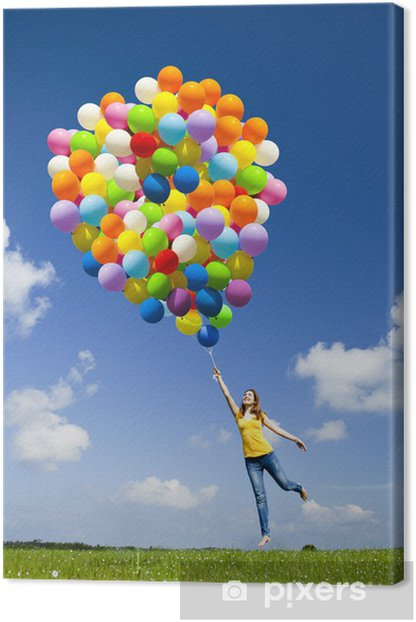 Flying with balloons Canvas Print - Seasons