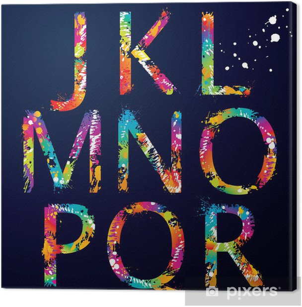 Font - Colorful letters with drops and splashes from J to R Canvas Print - Themes