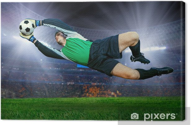 Football goalkeeper in action on field of stadium Canvas Print -