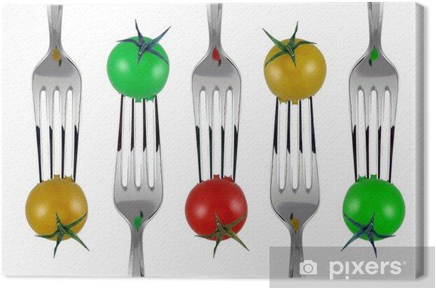 forchette e pomodorini colorati Canvas Print - Kitchen