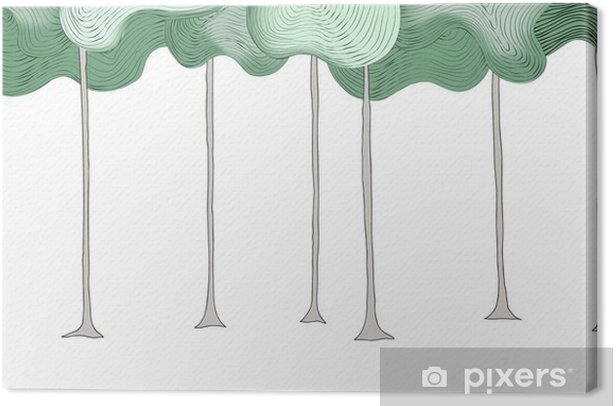 Forest outline hand draw Canvas Print - Plants and Flowers